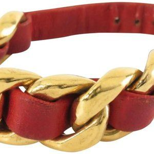 Chanel Red Leather Coco Gold Chain Bracelet Bangle